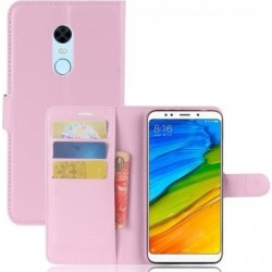 OEM Xiaomi Redmi 5 Plus Leather Folding Book Case with Built-in Pink Silicone Case