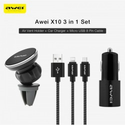 Awei X10 car charger set with Magnetic Mobile Stand and MICRO USB / LIGHTNING cable