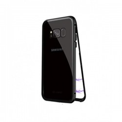 Magnetic Metal Case with Rear View from Tempered Glass for Samsung Galaxy S8- Black