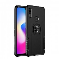 OEM Xiaomi Redmi Note 7 Litchi Hybrid Armor Shockproof with Ring - Black