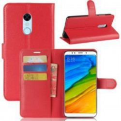 Xiaomi Redmi 5 Plus - Leather Folding Book Case with Built-in Silicone Case - RED