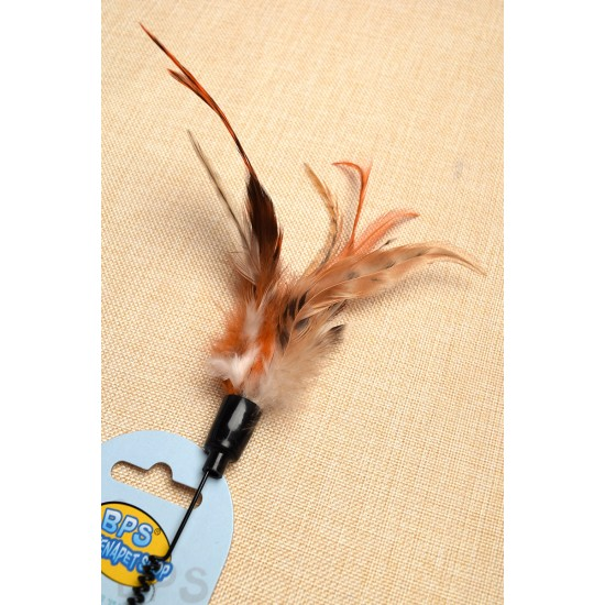 Pet toy spring stick 3 color feather tail
