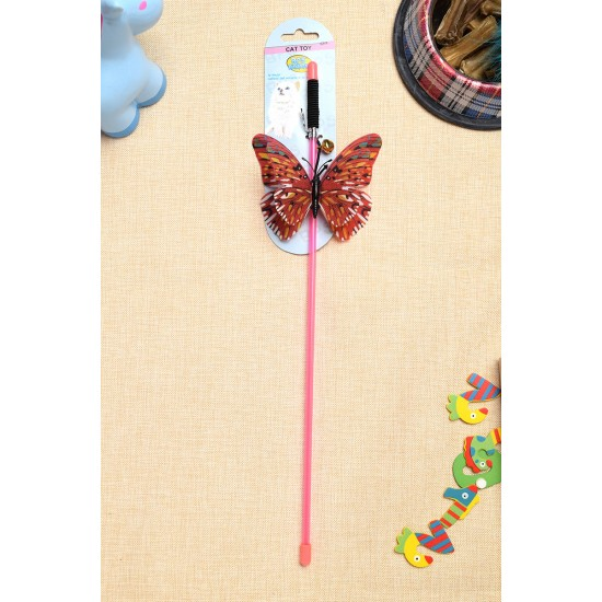 Pet toy bell 3 color butterfly stick