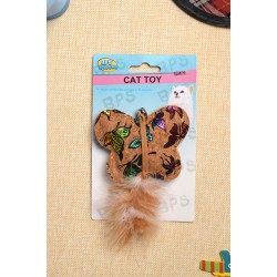 Pet toy, butterfly shaped feather tail