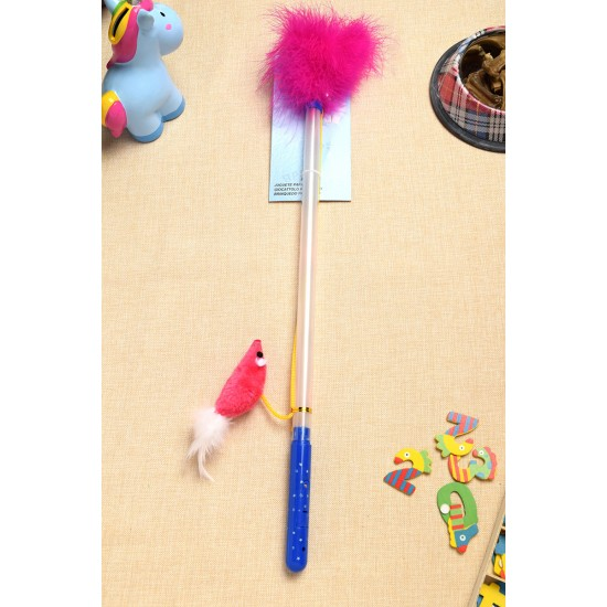 Pet toy, transparent stick hanging rope mouse