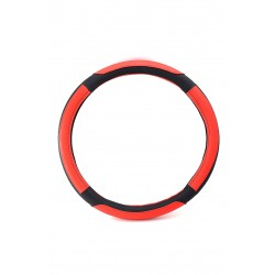 Car steering wheel protective cover, red and black inlays, 38cm