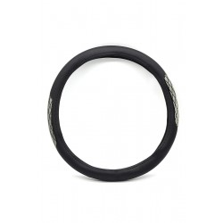 Car steering wheel protective cover, gray and black inlaid 38cm